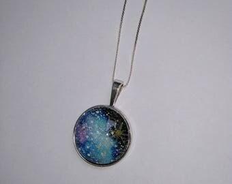 Watercolor Galaxy cabochon pendant