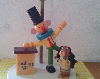 Table lamp vintage clown and dog for the nursery.