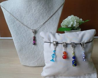Choker necklace with 5 interchangeable pendants