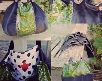 bag Tote all reversible fabric and glitter