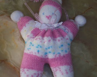 Plush Elf knit pink and white