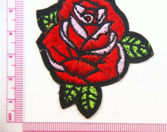 patch applique pink flower pattern embroidery, sewing fusible