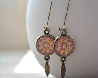 Big pink and yellow rose earrings