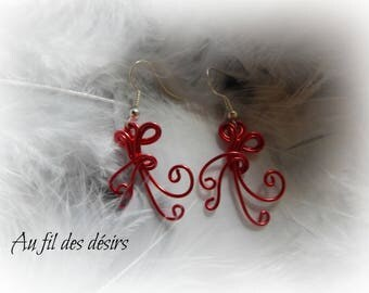 Red aluminum Wire Earrings