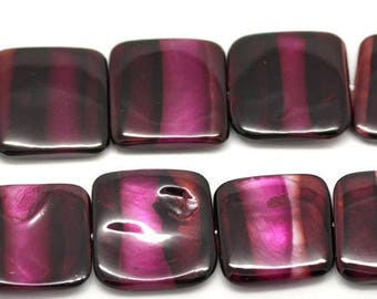 Silver mother of Pearl square flat purple FUCHSIA stripes 20 X 20 mm (W15)