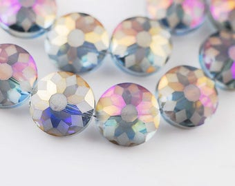 1 beautiful large round Pearl multi-faceted Swarovski Crystal, blue light AB 18X10mm (BA18)