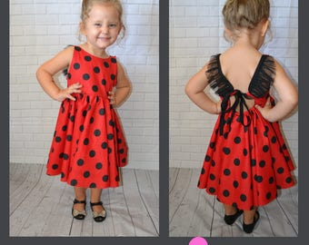 Girls Ladybug Dress Polka Dots Red and Black