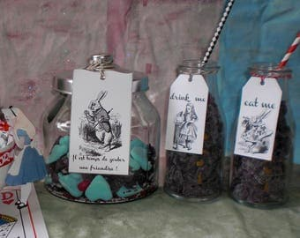 "3 labels ""Alice in Wonderland country"" for party favors, candy bar"