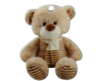 Pendant made of resin depicting a cute little bear 23 x 19 mm