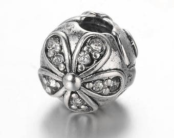 Pearl blocker flower clip with Rhinestone for antique silver plated European bracelet