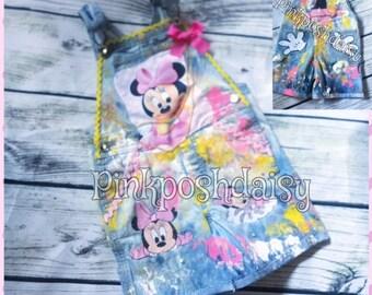 baby minnie mouse custom denim overalls
