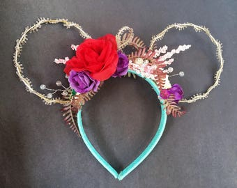 Little Mermaid Ears~ Ariel Ears ~ Minnie Ears ~ Mickey Ears ~ Disney Ears ~ Under The Sea ~ Ocean Ears ~ Red Rose ~ Sea Shells