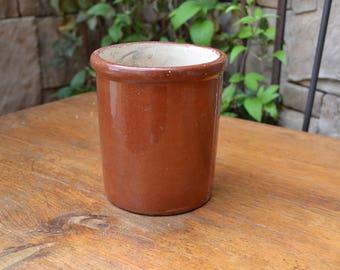 Vintage Heavy Brown Crock Container