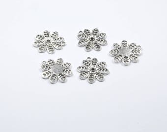 BR176 - Set of 5 silver metal flower charms