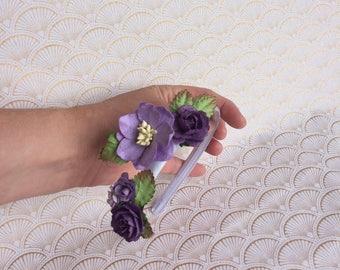 Girls' purple flower headband