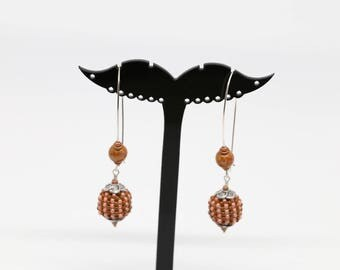 Coral and Brown dangle earrings