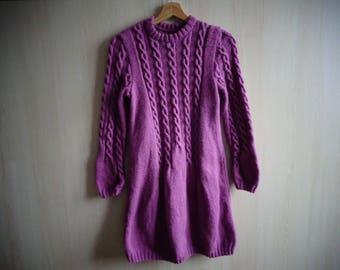 dress knitted fuschia hands 10/12 years
