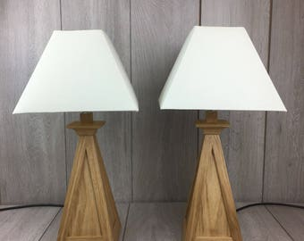 lamp, wooden lamp, oak lamp, table lamp, wooden table lamp, bedside table lamp