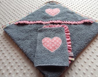 Embroidered heart washcloth and bath