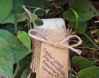Cedarwood, Frankencinse, Rosemary, Lemon Lye Soap