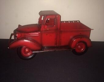 Metal Red Vintage Metal Truck