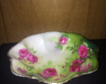Candy Dish Rose & Green Candy Dish / Serving Bowl
