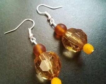 Orange and brown glass beads earrings
