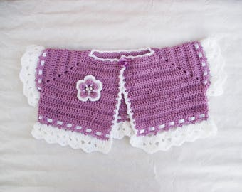 Short Bolero jacket of ceremony wedding crochet kids size 2/4 years