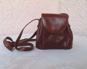 Vintage Bag, Woman Leather Bag,JOOP leather Bag,Leather cross body bag,Mahogany colour small distressed leather messenger bag,Leather purse