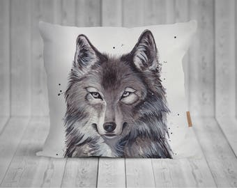 Pillow with Wolf watercolor motif, hand sewn, 50 x 50 cm, with more individualized back