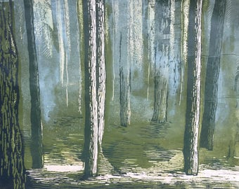 Forest, Relief Print, Hand Pulled Print, Limited Edition Print