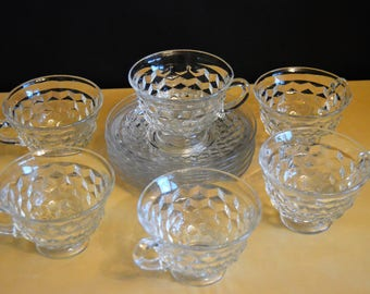 "Set of 6 American Fostoria Cup and Saucers, 6) 6 oz Cups, 6) 5.5"" Saucers, Clear Glass, Cube Square Diamond"