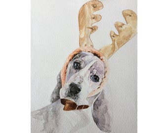 Beagle art print, Watercolor dog portrait