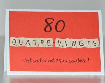 "Birthday card ""80"" with scrabble letters"