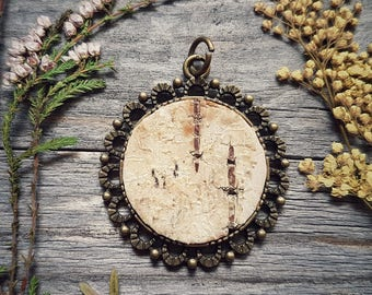 Earth amulet. Birch bark pendant.