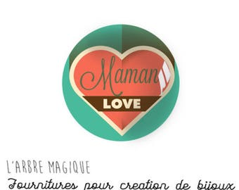 2 cabochons craft MOM love heart message glass 14 mm - N903