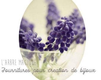Cabochon 18 x 25 mm natural blue crocus flower fantasy romantic 1825c556
