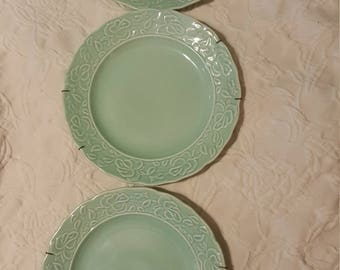 3 teal green decorative plates