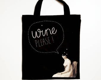 Funny tote black, wine bag, cotton bag embroidery, shopping bag black, embroidery shopping bag, totebag embroidery, lady tote