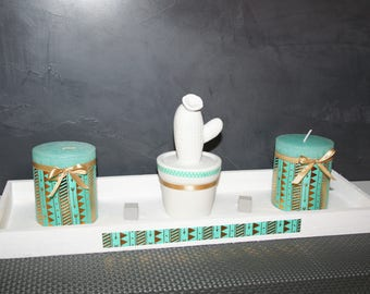 set candles cactus Green Gold and white wood