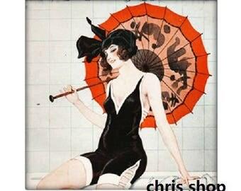 25mm square, woman with parasol (Paris life)