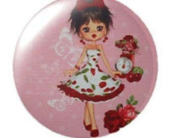 miss cherry, small pinup cabochon, 20mm