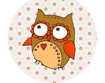 pretty OWL 20mm heart cabochon