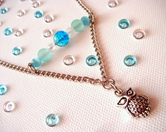 """""""Arctic"""" white/blue glass beads, chain necklace"""