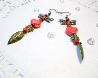 unique Stud Earrings, red hearts in ceramic, dragonfly, beads and bronze color frame