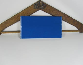 Blue recycled fabric checkbook, upcycling