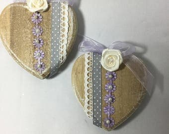 a set of two shabby chic wooden hearts