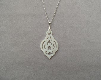Silver Pendant Necklace mother of Pearl carved