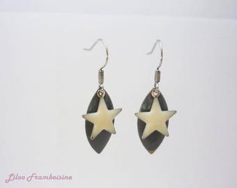 Navette and enamel star earrings