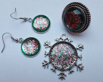 Pendant and earrings jewelry set ring